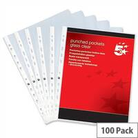 Top and Side Opening Punched Pockets A4 Glass Clear Pack 100 5 Star