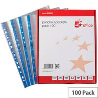 5 Star Punched Pocket Blue Strip Top-opening A4 60 Micron Clear Pack 100