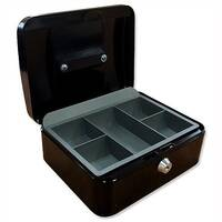 5 Star Key Lock Cash Box Large 12 Inch 300x240x70mm Anthracite Black 5 Coin Compartments