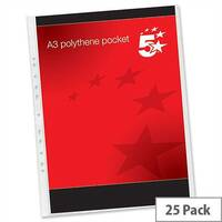 A3 Plastic Punched Pockets Portrait Pack 25 5 Star