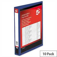 4 D Ring Presentation Binder Blue PVC 25mm A4 Pack 10 5 Star