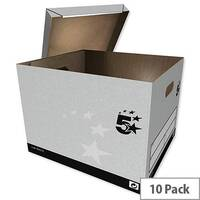 5 Star Facilities Storage Box Quick-assembly Extra Large Grey Pack 10