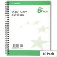 5 Star Eco Spiral Pad 228x177mm  Pack 10