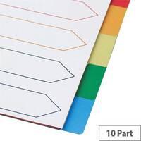 5 Star Elite A4 File Dividers Multicoloured Tabs Polypropylene 10-Part White