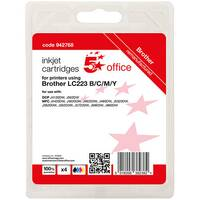 5 Star Office Remanufactured Inkjet Cartridge Page Life Blk 550pp C/M/Y 550pp [Brother LC223VALBP Alternative] Pack of 4