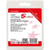 5 Star Office Remanufactured Inkjet Cartridge Life Black 190pp Tri-Colour 165pp [HP No.301 N9J72AE Alternative][Pk 2]