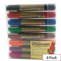 Artline 2-in-1 Whiteboard Markers Bullet/Chisel Tip Assorted Colours Pack of 8