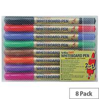 Artline 2-in-1 Whiteboard Markers Fine/Superfine Assorted Colours Pack of 8