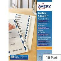 Avery 10 Part Clear Index Maker Divider Set 05113081