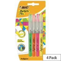 Bic Highlighter Flex Brush Tip Assorted Colours Pack of 4 942041