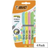 Bic Highlighter Grip Assorted Pastel Pack of 4 964859