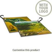 "18"" X 12"" Full Color Golf And Sports Towel With Carabiner 177094 - Customise with your brand, logo or promo text"