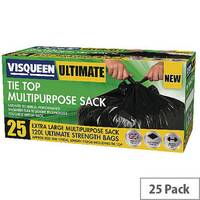 Visqueen Ultimate Tie Top Multipurpose Sacks 120L Black Pack of 25 Sacks