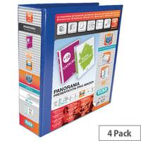 Elba Panorama Presentation Binder A4 Plus 4D-Ring 65mm Blue Pack 4 400008675