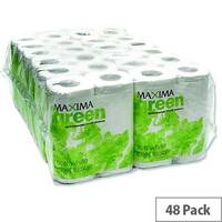 Maxima Green Recycled Toilet Tissue Paper Roll White 2 Ply Pack 48 Toilet Paper Rolls