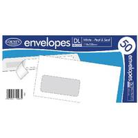 County Stationery DL White Window Peel and Seal Envelopes Pack of 1000 C505