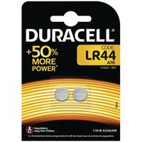 Duracell LR44 Alkaline Button Batteries Pack of 2 A76/2