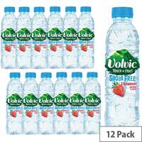 Volvic Natural Mineral Water Flavoured Touch of Fruit Strawberry Fruit, Sugar Free, Refreshing Still Natural Mineral Water Drink, 500ml, Pack of 12 Bottles 122440