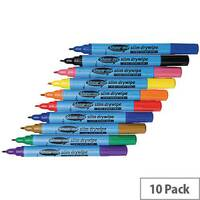 Showme Drywipe Pen Slim Barrel Fine Tip Pen Assorted Pack of 10 FSDP10A