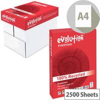 Evolution Everyday A4 75gsm White Recycled Printer Paper Box of 2500 Sheets EVE2175