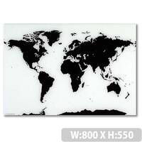 Franken Glass Magnetic Board World Map 550 x 800mm White &Black GTKW5580