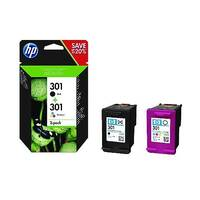 HP 301 Black/Colour Ink Cartridges Twin Pack – Standard Capacity, Black: Approx 190 Page Yield, Colour: Approx 165 Page Yield, Compatible With Deskjet &Envy Printers &Eco-Friendly (N9J72AE)