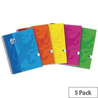 Oxford Touch A4 Wirebound Hardback Notebook Assorted Pack of 5 400109986