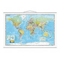 Franken Map Board World Laminated with Metal Bars 1:33,000,000, 97 x 137cm