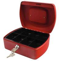 Q-Connect Compact 8 Inch Key Lock Cash Box Red 8 Coin Compartments
