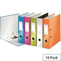 Leitz 180 Wow 80mm Assorted A4 Lever Arch File Pack of 10 10050099