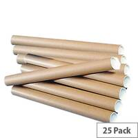 Brown Kraft 625x50mm Cardboard Postal Tubes A1 (25 Pack)