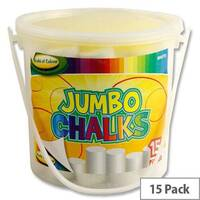 WOC Bucket 15 Jumbo White Sidewalk Chalk
