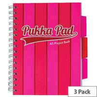 Pukka Pad Vogue Wirebound Project Book A5 Pink Pack of 3 8539-VOG