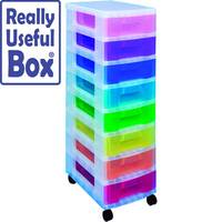 Really Useful Mobile Storage Tower 8x7L Drawers Multi-Coloured Ideal For Use In Homes, Offices, Schools &More. Supplied With Removable Castors For Ease Of Use.