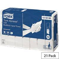 Tork Xpress Soft Multifold Hand Towel 2 Ply 340x212mm 136 Towels Per Sleeve 21 Sleeves (2856 Sheets) 120288