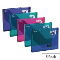 A4 Box File Assorted Plastic Push Lock 25mm Spine Pack 5 Snopake