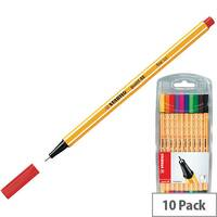 Stabilo Point 88 Fineliner Red Pen Pack of 10 with FOC Pack of 10 Assorted Pens SS811637