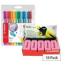 Stabilo Boss Highlighter Assorted Pack of 10 FOC Fibre Tip Pen Pack of 4 SS811679