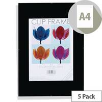 A4 Acrylic Clip Frame Pack Of 5
