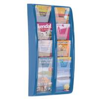 Panorama Wall Mounted Leaflet Dispenser 8x1/3 A4 Blue