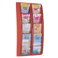 Panorama Wall Mounted Leaflet Dispenser 8x1/3 A4 Red
