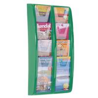 Panorama Wall Mounted Leaflet Dispenser 8x1/3 A4 Green