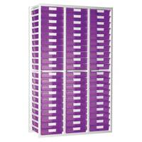 Static Tray Unit 54 Trays A4 Tinted Pink 1080X455X1910 White Frame