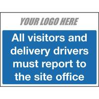 All Vistors And Delivery Drivers Sign 800X400mm 10mm Correx