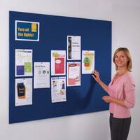 Frameless Felt Noticeboard 1200x2400mm (Hxw) Blue