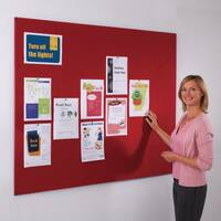 Frameless Felt Noticeboard 1200x2400mm (Hxw) Red