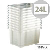 Topstore 24L Clear Storage Boxes Pack Of 10 Transparent Plastic Containers