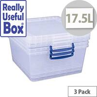 Really Useful Box Nestable Storage Box 17.5L Transparent Pack Of 3