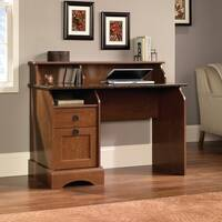 Farmhouse Style Home Office Desk In Autumn Maple Finish With Sunset Granite Accent
