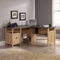 Home Office L-Shaped Executive Home Office Desk In Dover Oak Finish With Slate Coloured Desktop